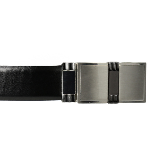 Men's Leather Belt with Square Buckle, black , 954-6140 - 26