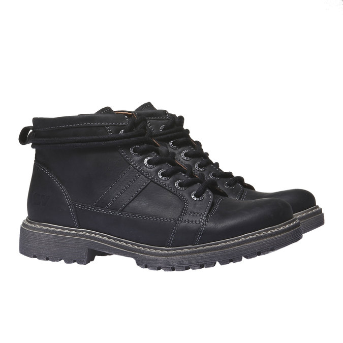 Leather shoes with original lacing weinbrenner, black , 594-6409 - 26