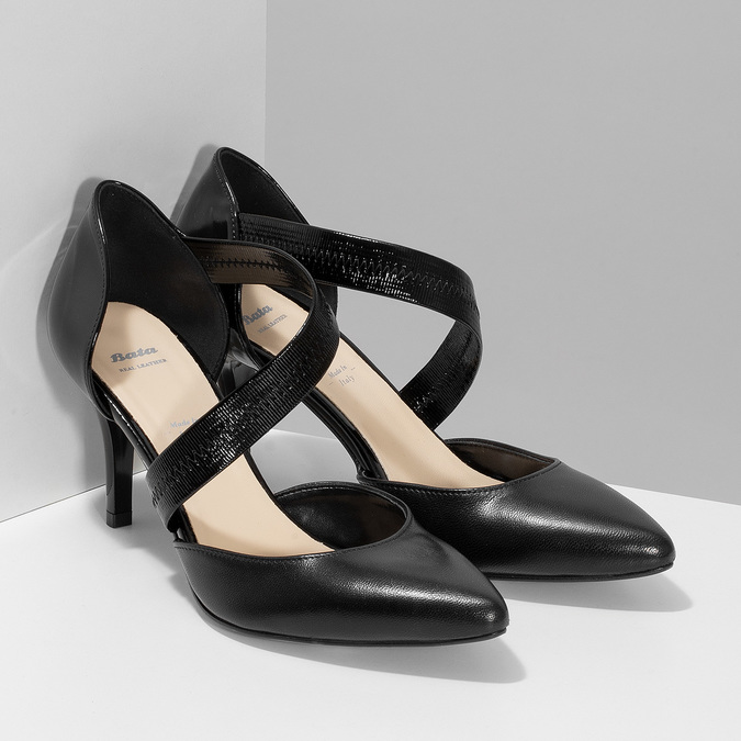 Leather pumps with T-strap bata, black , 724-6904 - 26