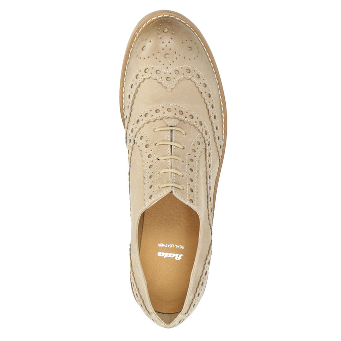Ladies´ leather shoes with decorations bata, beige , 524-8482 - 19