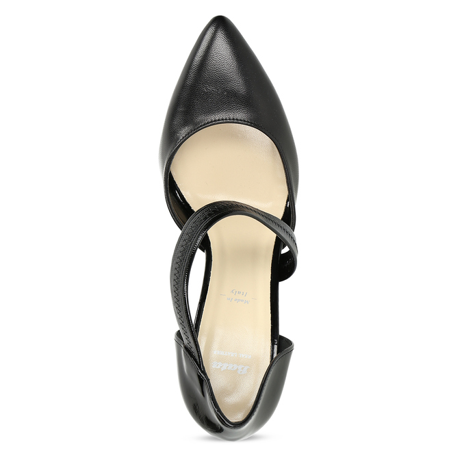 Leather pumps with T-strap bata, black , 724-6904 - 17