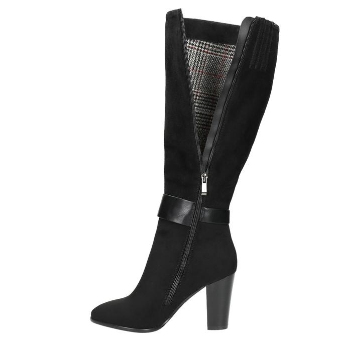 Ladies' heeled high boots bata, black , 699-6631 - 26