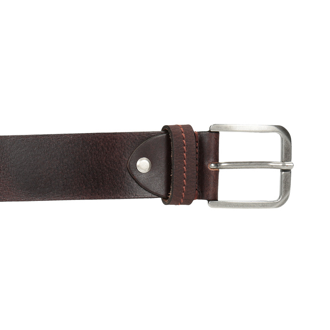 Brown leather belt bata, brown , 954-3106 - 26