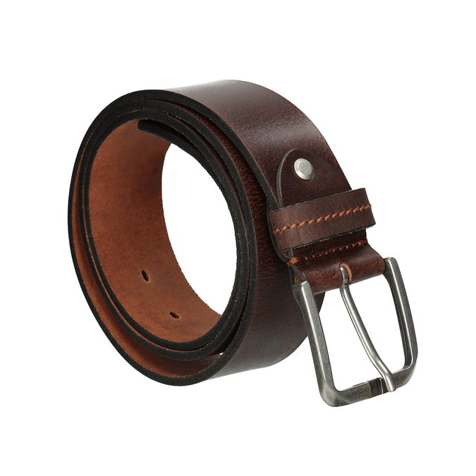 Brown leather belt bata, brown , 954-3106 - 13