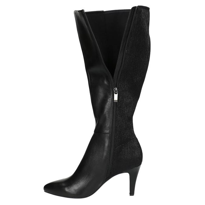 Leather Cossacks on a stiletto heel insolia, black , 794-6628 - 19