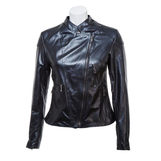 Ladies' leather jacket with zips bata, black , 974-6162 - 13
