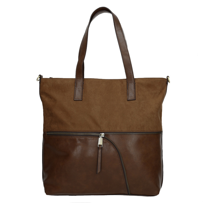 Ladies' handbag with asymmetric zip, brown , 961-3847 - 26