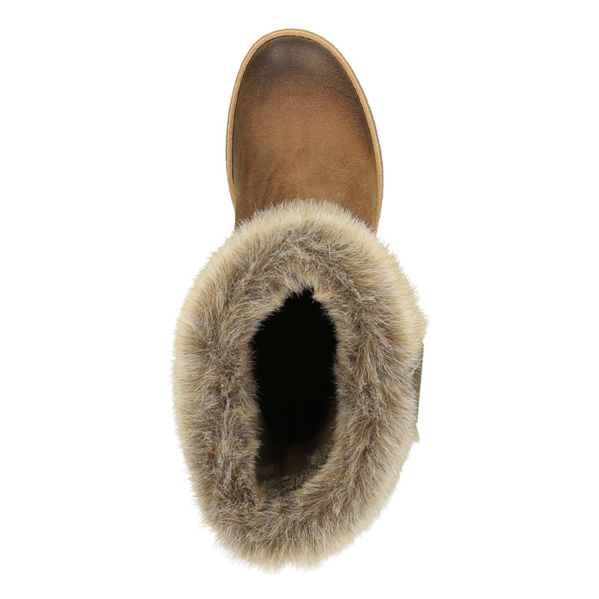 Leather winter shoes with fur weinbrenner, brown , 596-4633 - 19