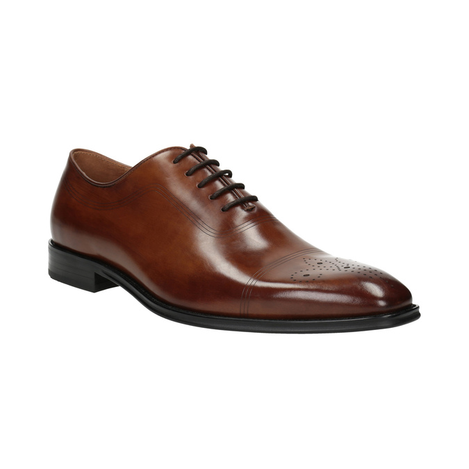 Leather Oxford shoes with Brogue work bata, brown , 826-3811 - 13