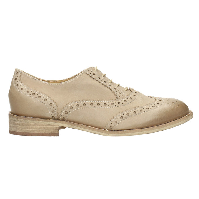 Ladies´ leather shoes with decorations bata, beige , 524-8482 - 15