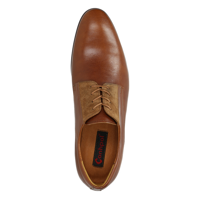 Brown leather shoes conhpol, brown , 824-3858 - 19