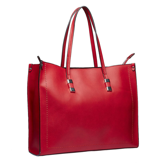 Square handbag in the Shopper style bata, red , 961-5736 - 13