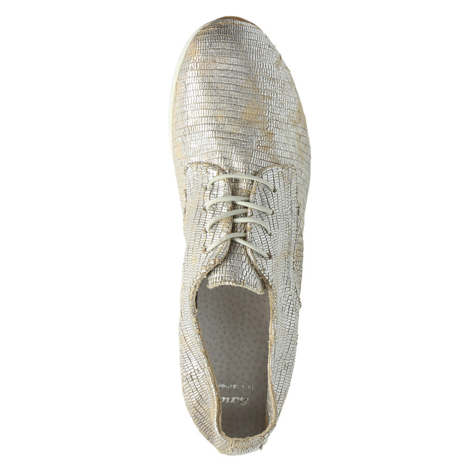 Gold leather sneakers bata, silver , 526-8633 - 19