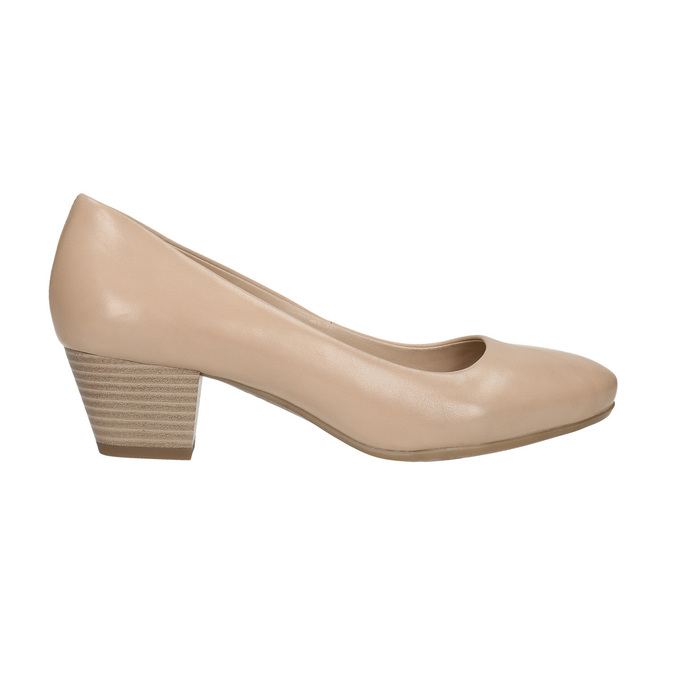 Leather low-heeled pumps pillow-padding, beige , 626-8637 - 15