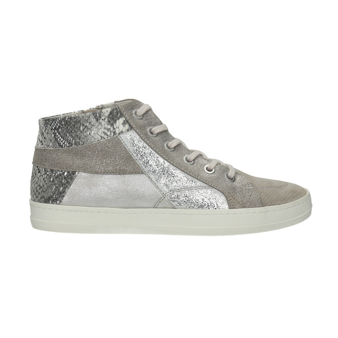 Leather ankle-cut sneakers with pattern bata, gray , 526-2614 - 15