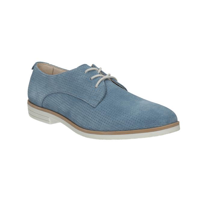 Blue leather shoes bata, blue , 523-9600 - 13