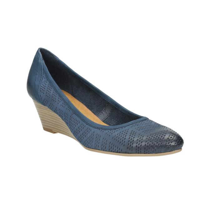 Perforated platform pumps bata, blue , 626-9638 - 13