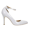 White leather pumps with ankle strap insolia, white , 728-1640 - 15