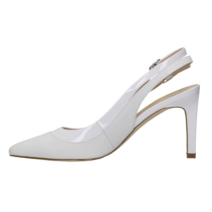 White leather pumps with open heel insolia, white , 724-1634 - 26