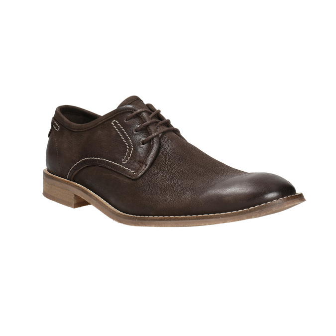 Brown leather shoes with distinctive stitching bata, brown , 826-4815 - 13