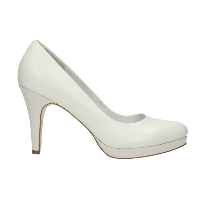 Leather pumps on a Stiletto heel insolia, white , 724-1647 - 15