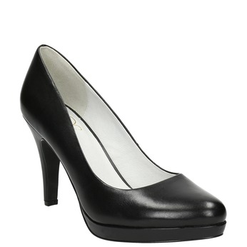 Black leather platform pumps insolia, black , 724-6647 - 13