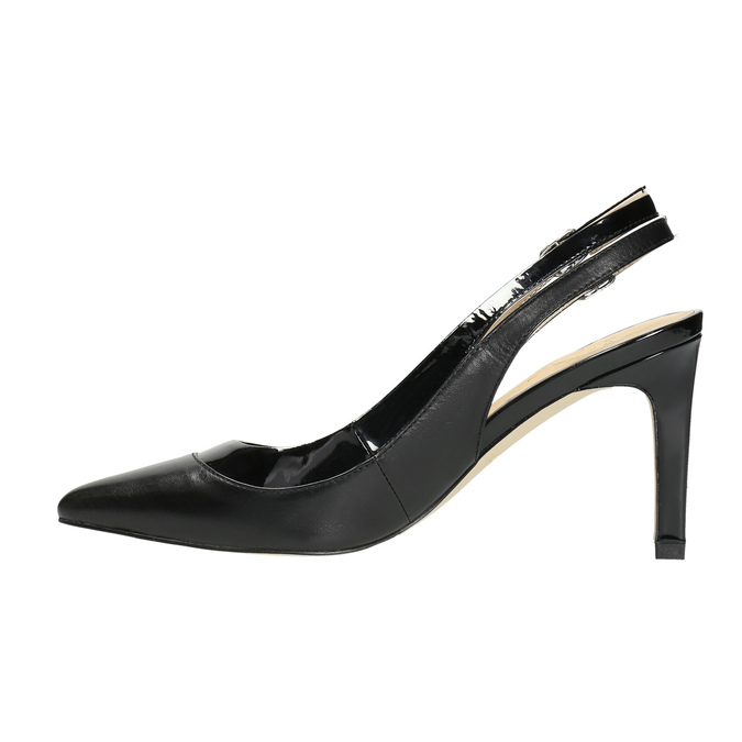 Black leather pumps with open heel insolia, black , 724-6634 - 26