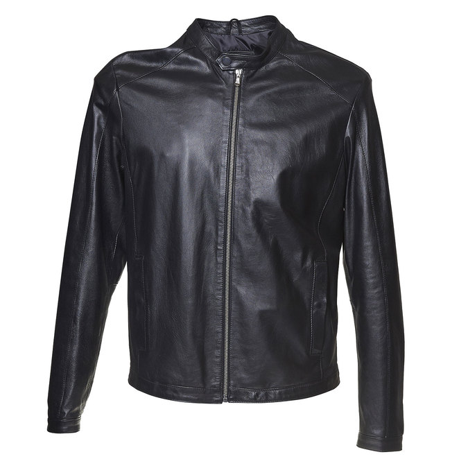 Men's leather jacket bata, black , 974-6164 - 13