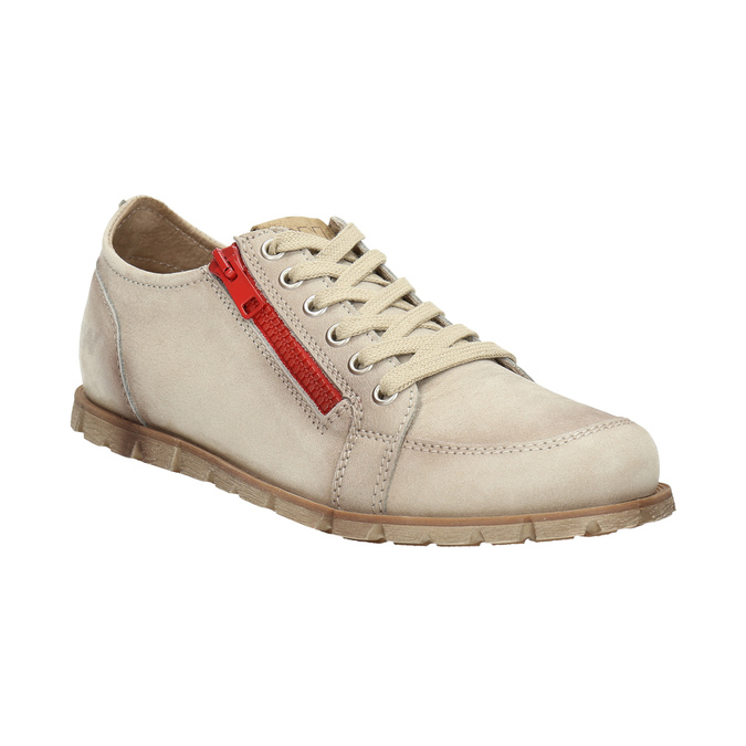 Leather shoes with a zipper weinbrenner, beige , 546-8604 - 13
