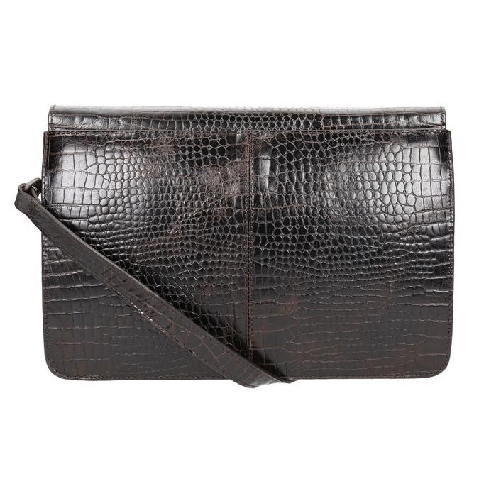 Leather handbag with crocodile pattern vagabond, brown , 966-3030 - 26