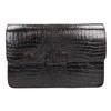 Leather handbag with crocodile pattern vagabond, brown , 966-3030 - 19