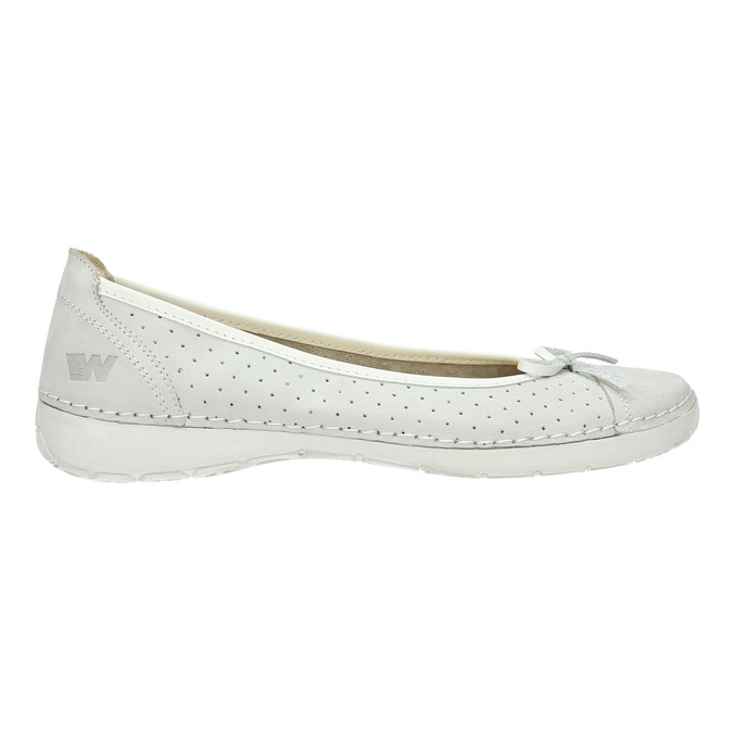 Perforated leather ballerina shoes weinbrenner, white , 526-1634 - 15