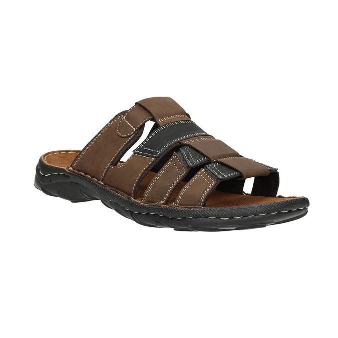 Men's leather slip-ons bata, brown , 866-4611 - 13