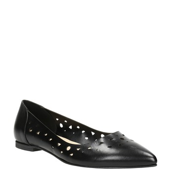 Pointed leather ballet pumps bata, black , 524-6604 - 13