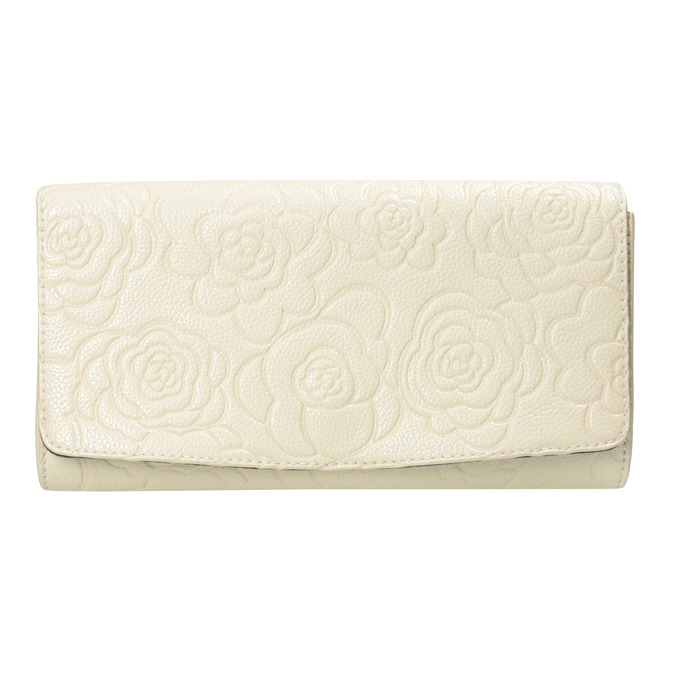 Clutch with floral pattern bata, beige , 961-1723 - 26