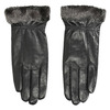 Ladies' leather gloves with fur bata, black , 904-6112 - 26
