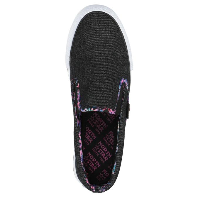 Ladies' slip-ons with coloured trim north-star, black , 589-6440 - 19