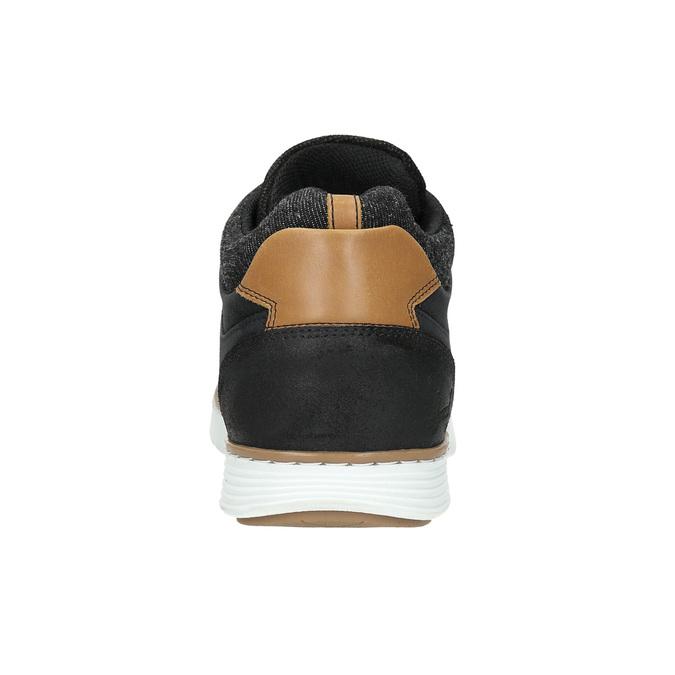 Men's leather high-top sneakers bata, black , 846-6641 - 17