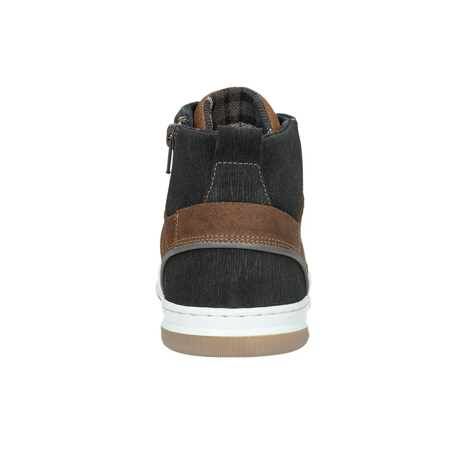 Leather high-top sneakers bata, brown , 846-3640 - 17
