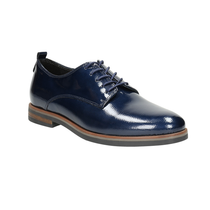 Ladies' leather oxford shoes bata, blue , 528-9600 - 13
