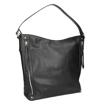Handbag with zippers bata, black , 961-6748 - 13