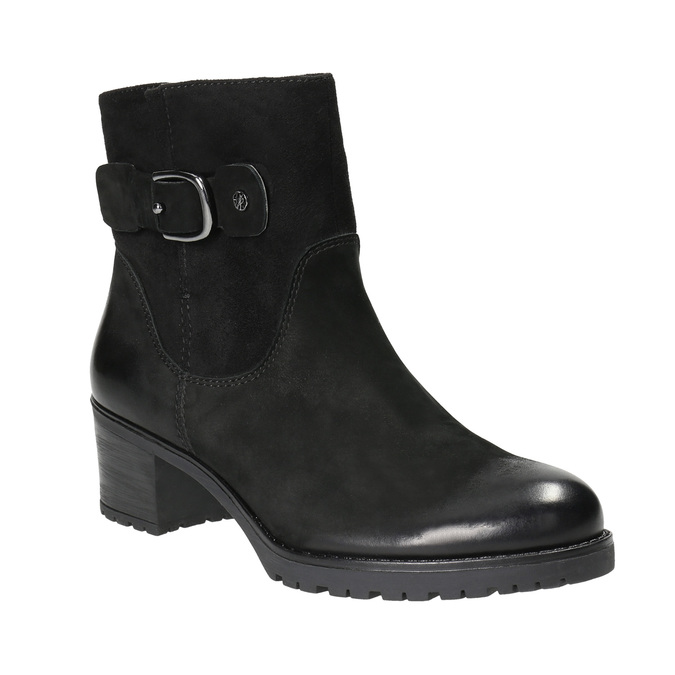 Leather ankle boots with a buckle bata, black , 696-6621 - 13