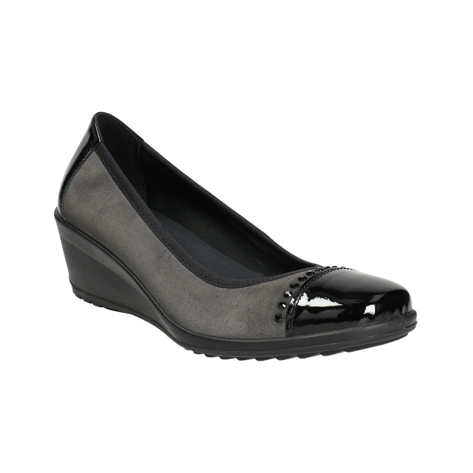 Leather pumps on a wedge heel, gray , 626-2644 - 13
