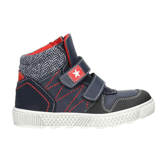 Leather high-top sneakers mini-b, blue , 214-9203 - 26
