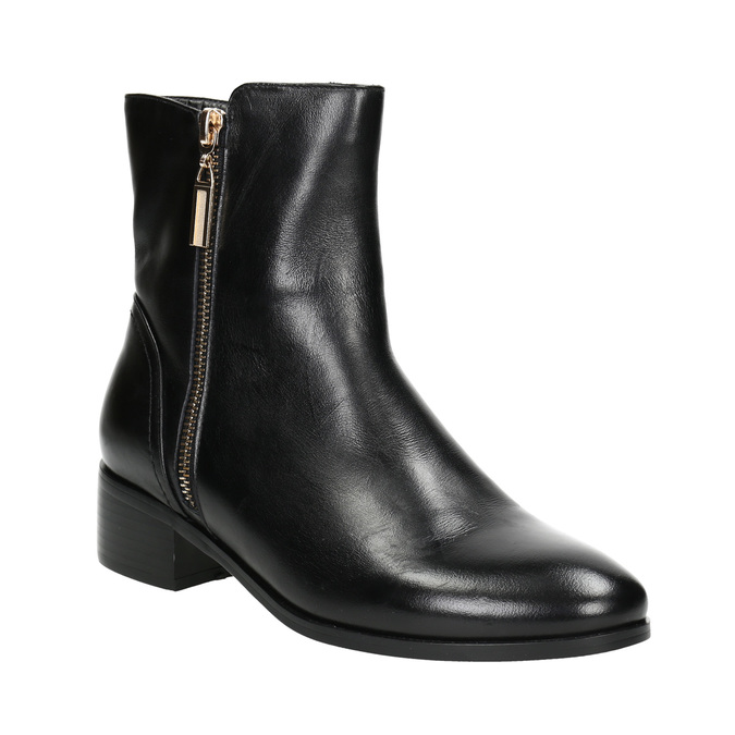 Leather ankle boots with gold zippers bata, black , 594-6654 - 13