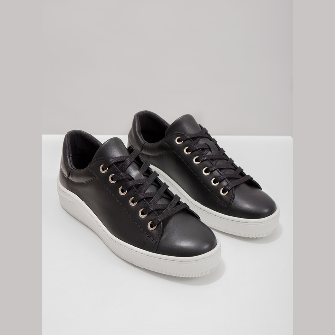 Leather sneakers with a distinctive sole bata, black , 526-6641 - 14