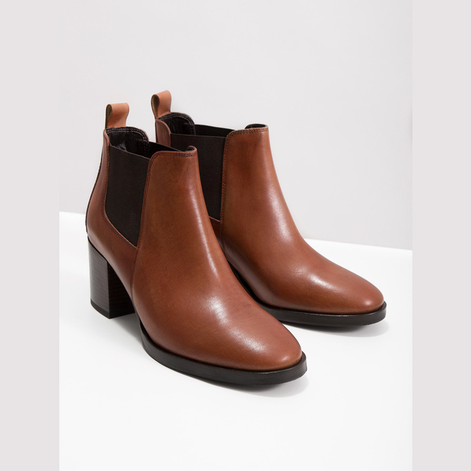 Leather Ankle Boots with Heel bata, brown , 694-4641 - 14