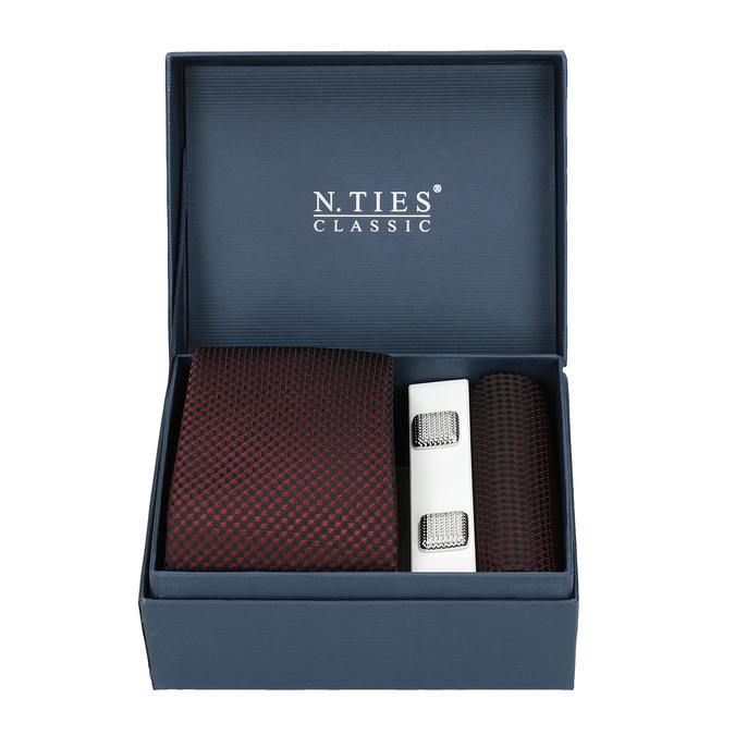 Tie, Handkerchief, and Cufflinks Set bata, red , 999-5293 - 13