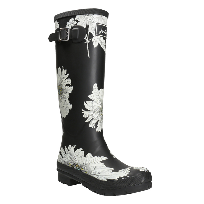 Black Wellington Boots with Floral Pattern joules, black , 502-6043 - 13