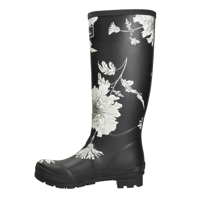 Black Wellington Boots with Floral Pattern joules, black , 502-6043 - 15